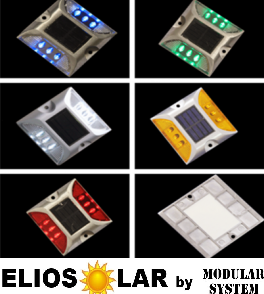 Solar road stud 6 led flash o costant (color red, white, yellow, green, blue) - ElioSolar by Modular System
